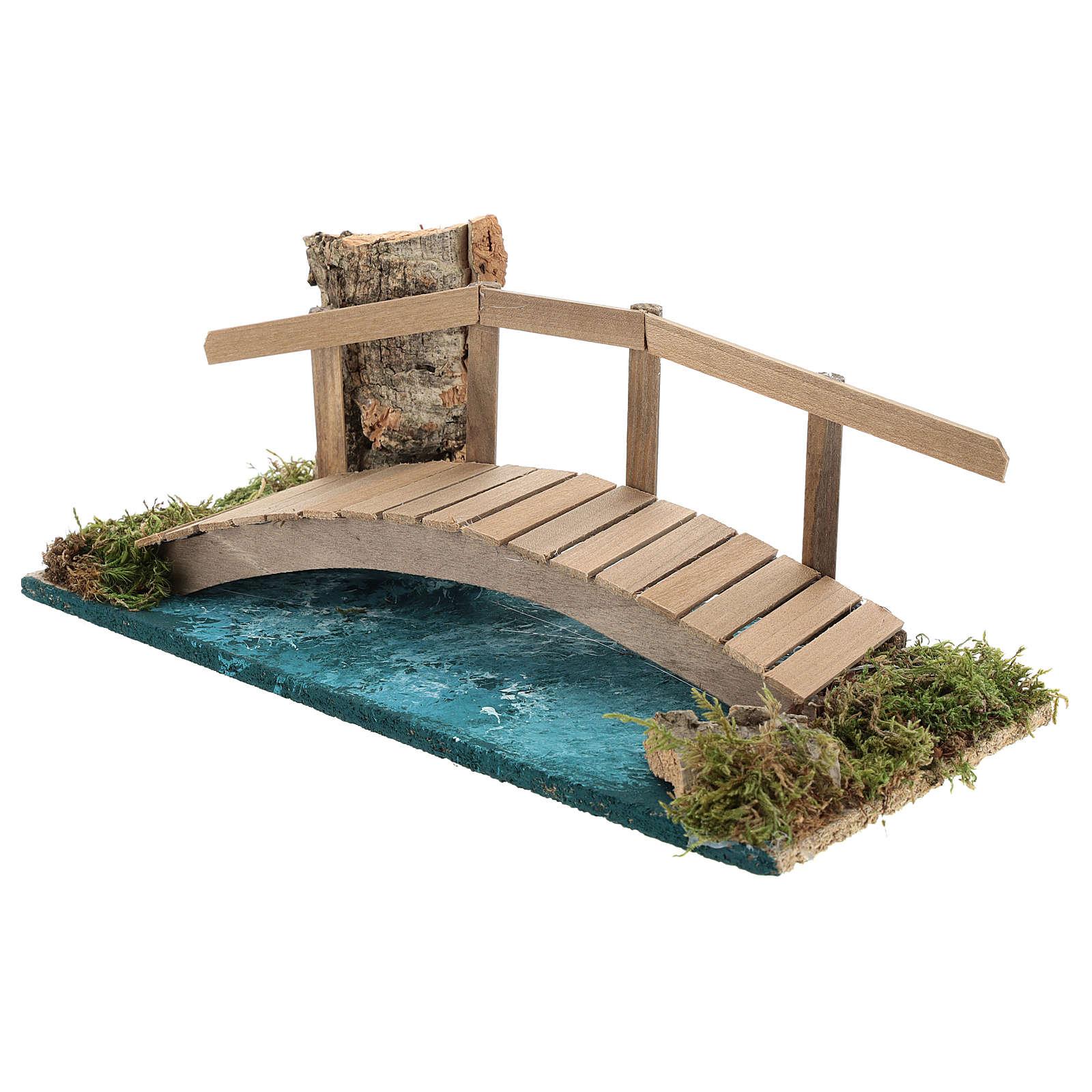 Ponte con ringhiera 10x25x10 cm ambientazione presepe 6-8 cm 4