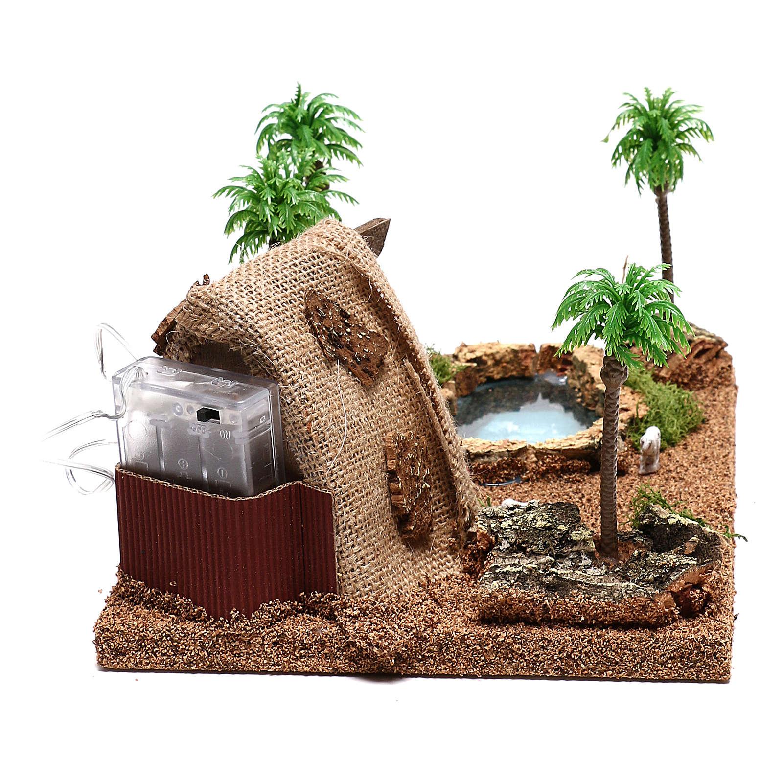 Ambientación con natividad y cueva iluminada 10x25x20 cm belén 4 cm 4