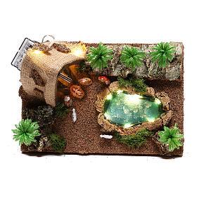 Ambientazione con natività e grotta illuminata 10x25x20 cm presepe 4 cm s2