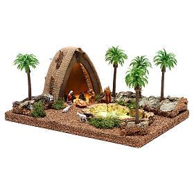 Ambientazione con natività e grotta illuminata 10x25x20 cm presepe 4 cm s3