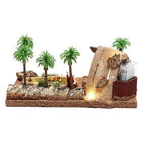Ambientazione con natività e grotta illuminata 10x25x20 cm presepe 4 cm s5