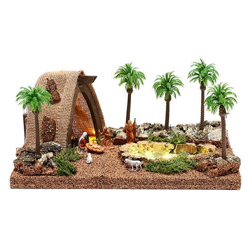 Ambientazione con natività e grotta illuminata 10x25x20 cm presepe 4 cm 1