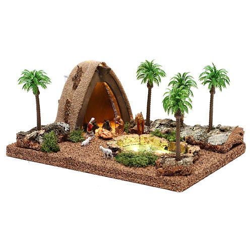 Ambientazione con natività e grotta illuminata 10x25x20 cm presepe 4 cm 3
