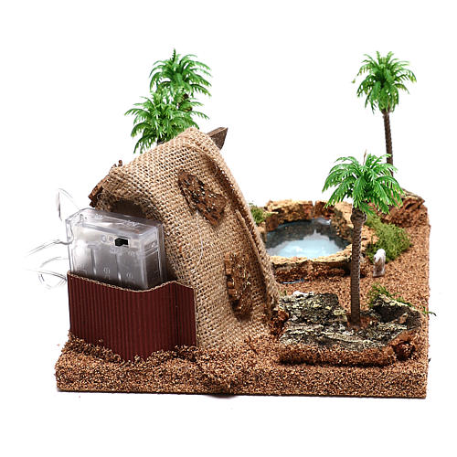 Ambientazione con natività e grotta illuminata 10x25x20 cm presepe 4 cm 6