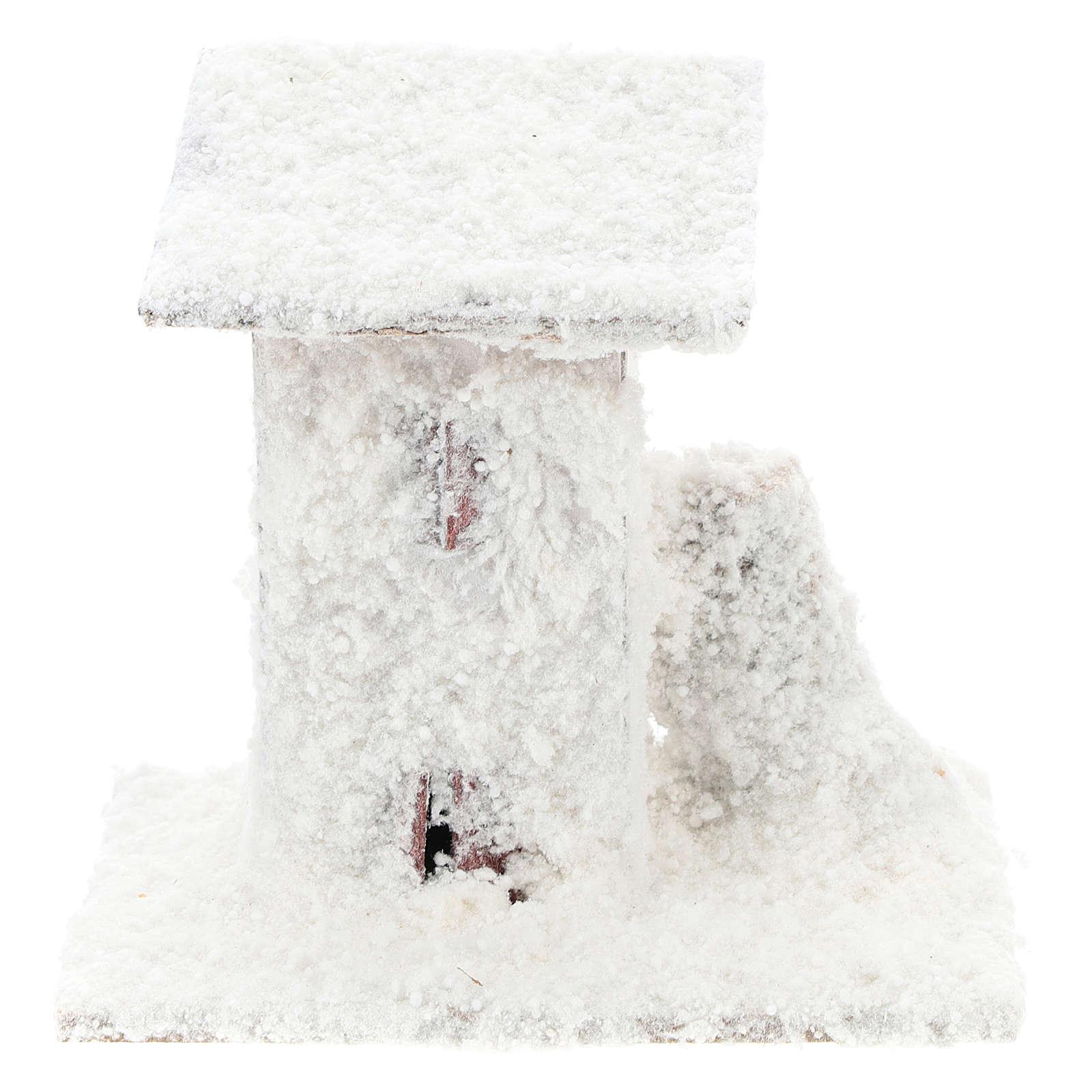 Set 4 casitas nevadas 10x10x10 cm belén 3-4 cm 4