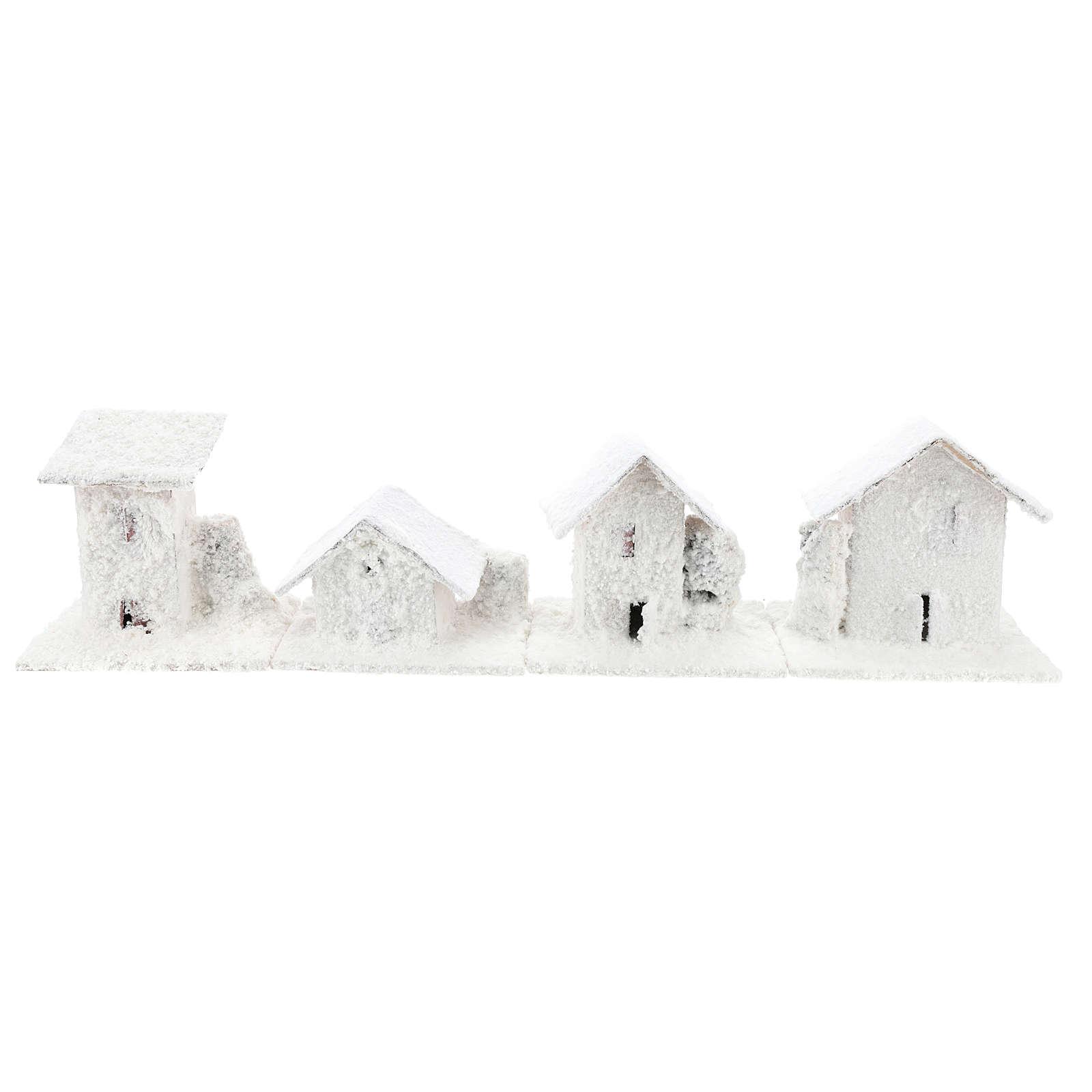 Set 4 casette innevate 10x10x10 cm presepe 3-4 cm 4