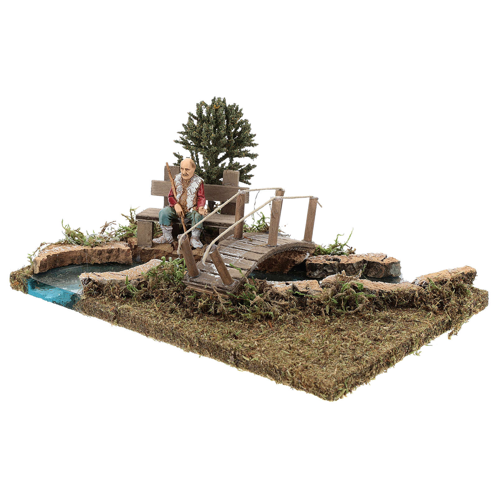 Trecho de río (modular) con puente y viejo 10x25x20 cm belén 8-10 cm 4