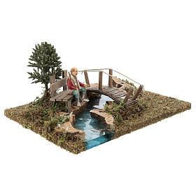 Trecho de río (modular) con puente y viejo 10x25x20 cm belén 8-10 cm s4