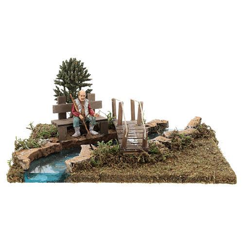 Trecho de río (modular) con puente y viejo 10x25x20 cm belén 8-10 cm 1