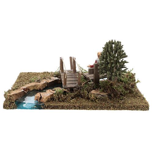 Trecho de río (modular) con puente y viejo 10x25x20 cm belén 8-10 cm 5