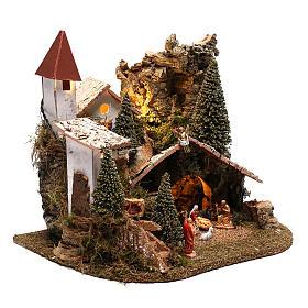 Village avec Nativité 20x25x20 cm décor crèche 3-4 cm s4