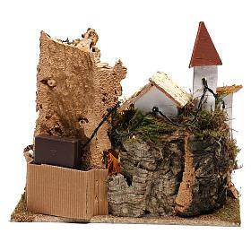 Village avec Nativité 20x25x20 cm décor crèche 3-4 cm s5