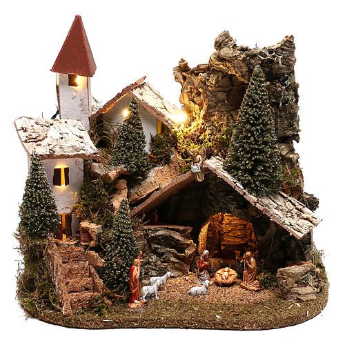 Village avec Nativité 20x25x20 cm décor crèche 3-4 cm 1