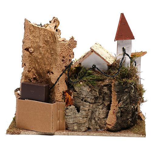 Village avec Nativité 20x25x20 cm décor crèche 3-4 cm 5