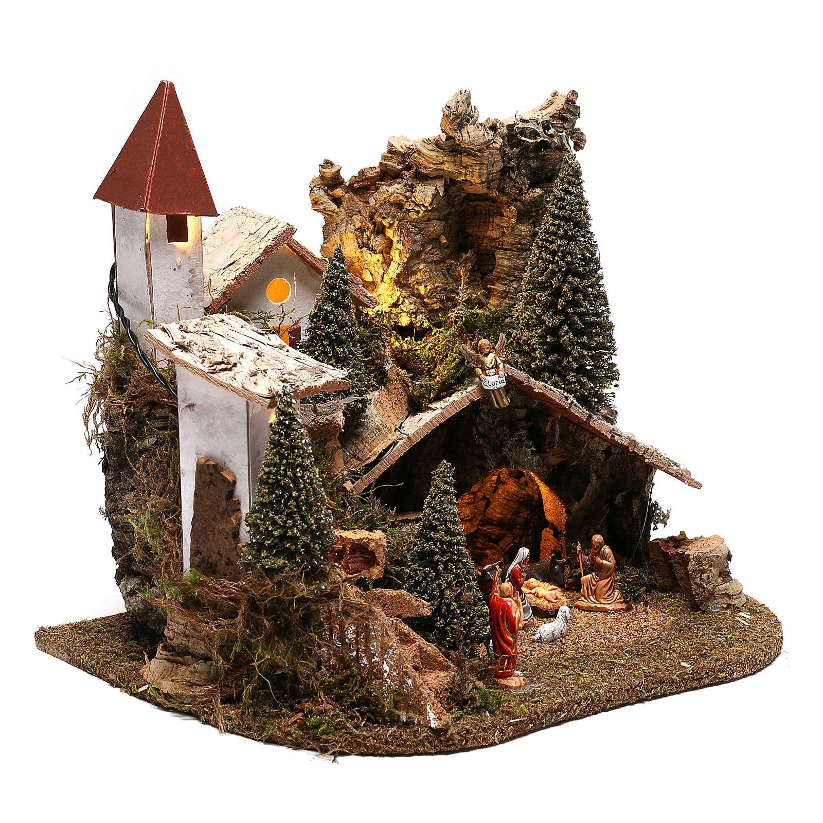 Villaggio con natività 20x25x20 cm ambientazione presepe 3-4 cm 4