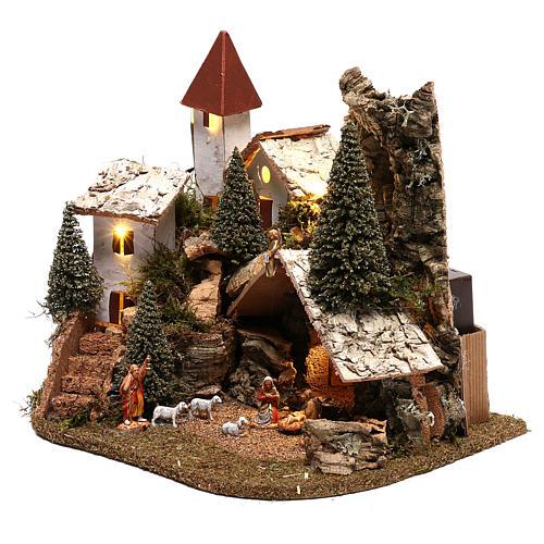 Villaggio con natività 20x25x20 cm ambientazione presepe 3-4 cm 3