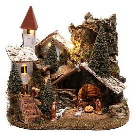 Ambientações para Presépio: lojas, casas, poços: Aldeia com natividade 20x25x20 cm cenário para presépio com figuras de 3-4 cm de altura média