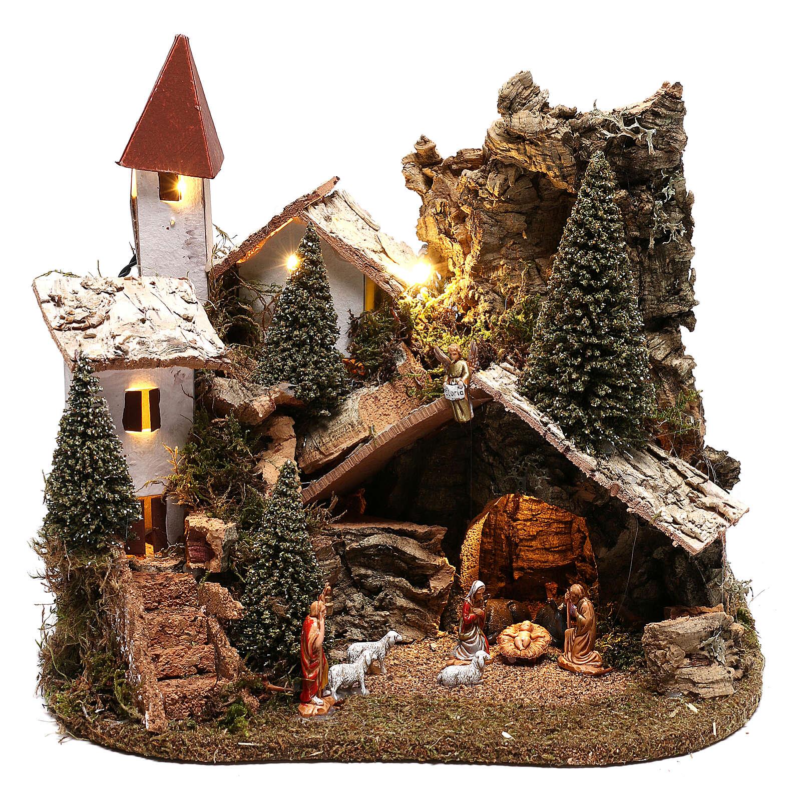 Nativity village with snow 20x25x20 cm, 3-4 cm nativity 4