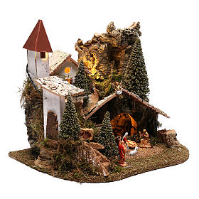 Nativity village with snow 20x25x20 cm, 3-4 cm nativity s4