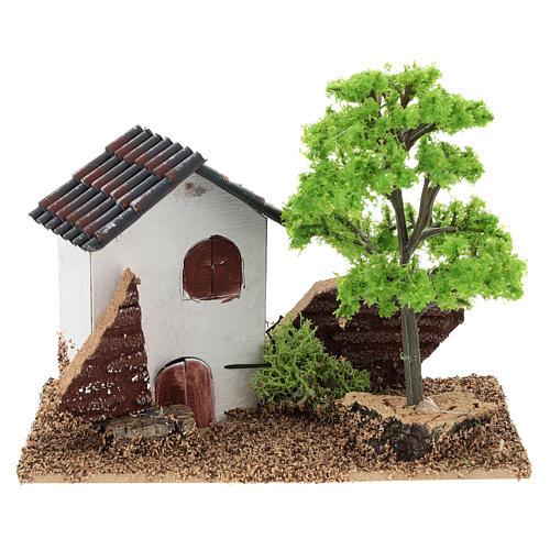 Casita con árbol 10x15x10 cm ambiente belén 3-4 cm 1