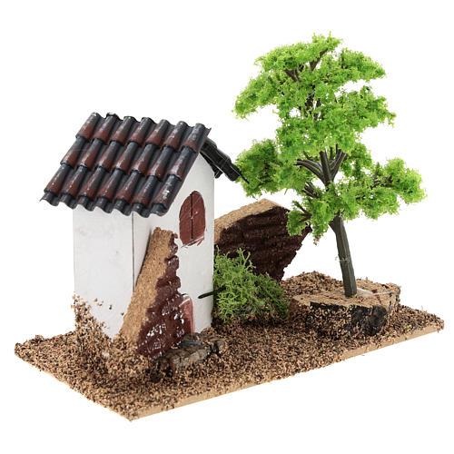 Casita con árbol 10x15x10 cm ambiente belén 3-4 cm 4