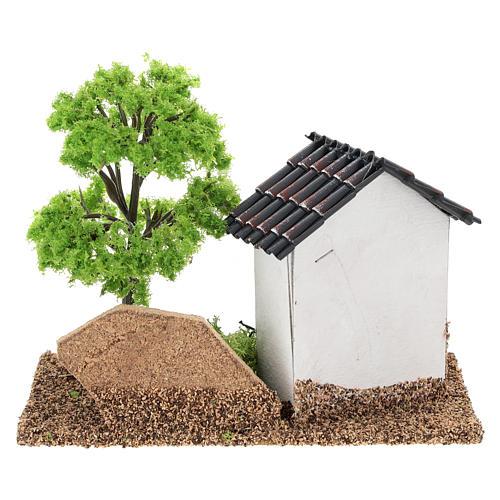 Casita con árbol 10x15x10 cm ambiente belén 3-4 cm 5