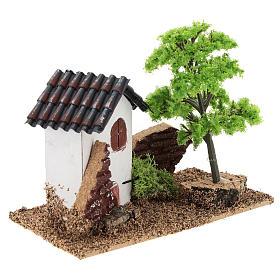 Casetta con albero 10x15x10 cm ambiente presepe 3-4 cm s4