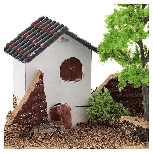 Casetta con albero 10x15x10 cm ambiente presepe 3-4 cm 2