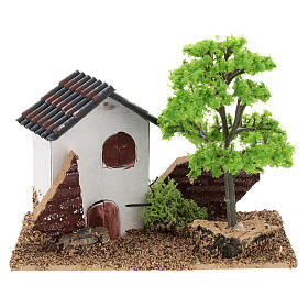 Ambientações para Presépio: lojas, casas, poços: Casinha com árvore 10x15x10 cm cenário para presépio com figuras de 3-4 cm de altura média