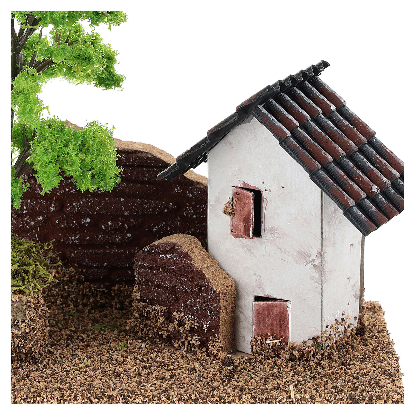 Maisonnette avec muret 15x15x10 cm décor crèche 3-4 cm 4