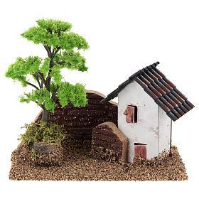 Maisonnette avec muret 15x15x10 cm décor crèche 3-4 cm s1