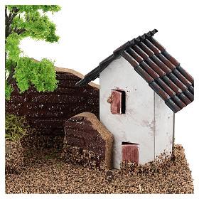 Maisonnette avec muret 15x15x10 cm décor crèche 3-4 cm s2