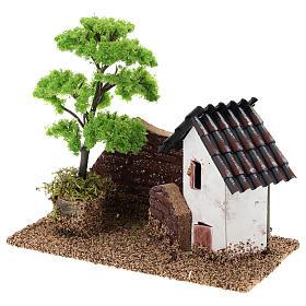 Maisonnette avec muret 15x15x10 cm décor crèche 3-4 cm s3