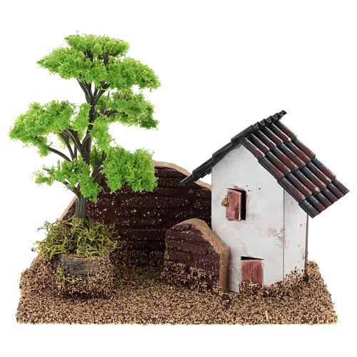 Maisonnette avec muret 15x15x10 cm décor crèche 3-4 cm 1