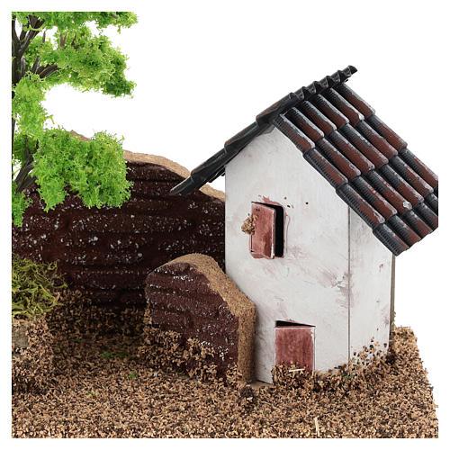 Maisonnette avec muret 15x15x10 cm décor crèche 3-4 cm 2