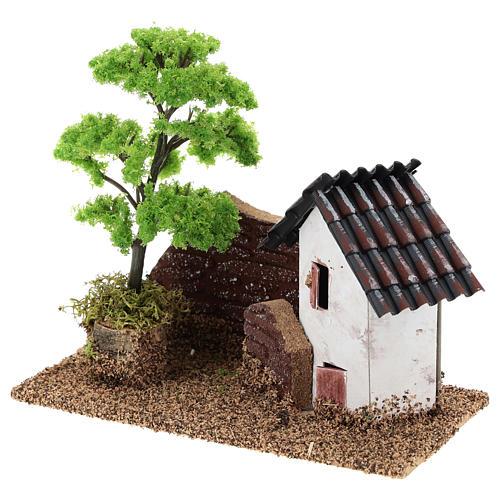 Maisonnette avec muret 15x15x10 cm décor crèche 3-4 cm 3