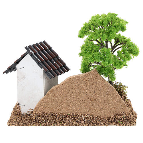 House with brick wall tree 15x15x10 cm, 3-4 cm nativity 5