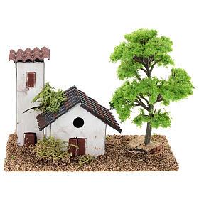 Casetta con torre 10x15x10 cm ambientazione presepe 3-4 cm s1