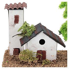 Casetta con torre 10x15x10 cm ambientazione presepe 3-4 cm s2