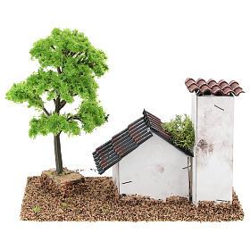 Casetta con torre 10x15x10 cm ambientazione presepe 3-4 cm s5