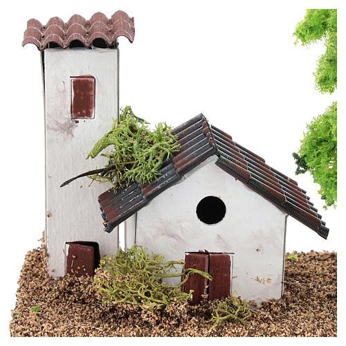 Casetta con torre 10x15x10 cm ambientazione presepe 3-4 cm 2