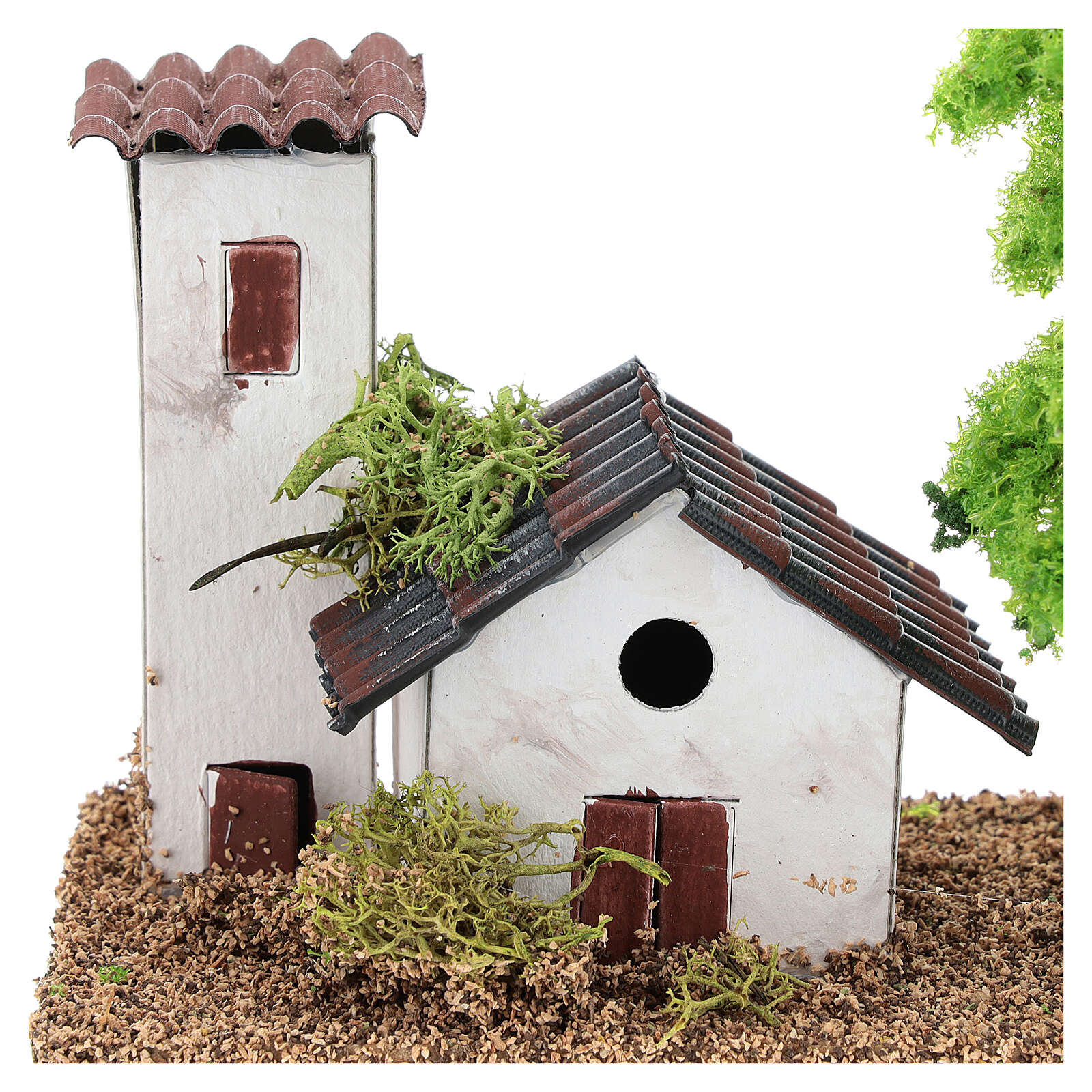Miniature house with tower 10x15x10 cm, for 3-4 cm nativity 4