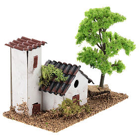 Miniature house with tower 10x15x10 cm, for 3-4 cm nativity s4