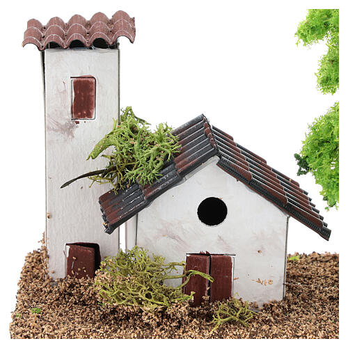 Miniature house with tower 10x15x10 cm, for 3-4 cm nativity 2