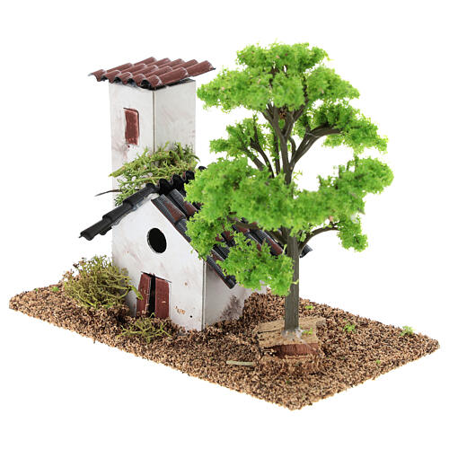 Miniature house with tower 10x15x10 cm, for 3-4 cm nativity 3
