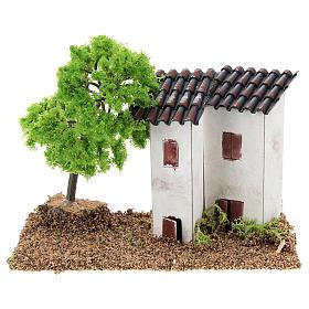 Ambientações para Presépio: lojas, casas, poços: Casinha com 2 torres e árvore 10x15x10 cm para presépio com figuras de 3-4 cm de altura média