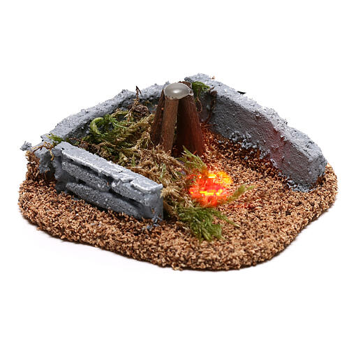 Mini campfire LED 5x10x10 cm, 8-10 cm nativity 3