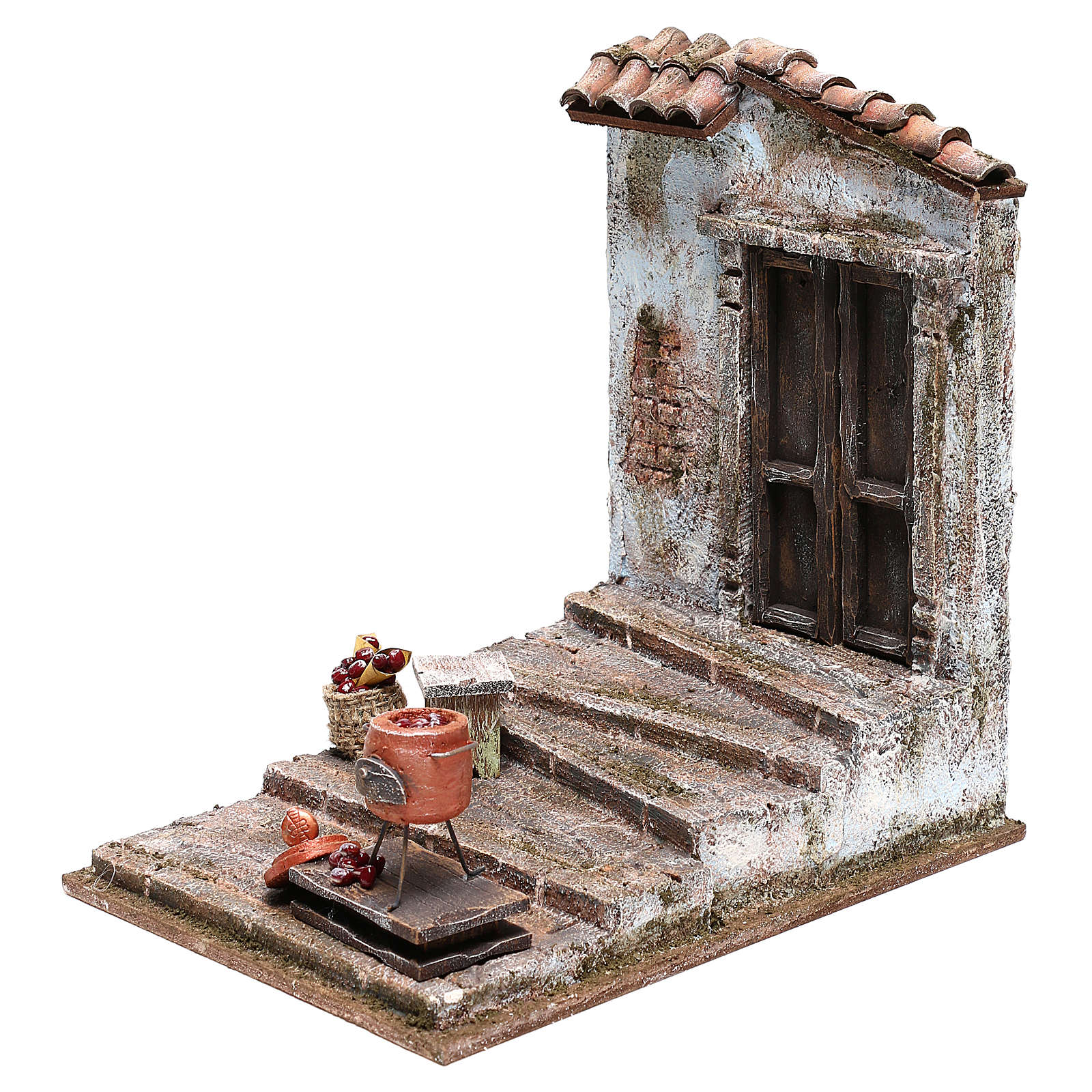 Chestnut seller setting 25x20x20 cm for Nativity scenes 12 cm 4