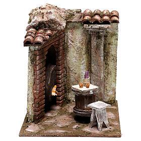 Ambientações para Presépio: lojas, casas, poços: Cena taverna 20x20x20 cm para presépio com figuras de 12 cm de altura média