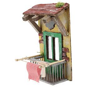 Balcone con tettoia per presepe napoletano di 12 cm s2